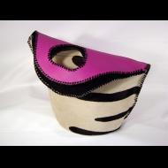Carol Risley: Black/White/Pink Grip Tote Bag
