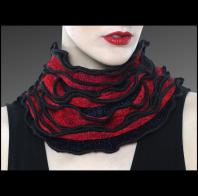 Karen Gelbard: Black and Red Ruffled Edge Collar