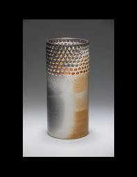 Amy Fields: Pierced Vase, Squares, Woodfired