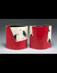 Natalie Warrens: Red and black crows (diptych)